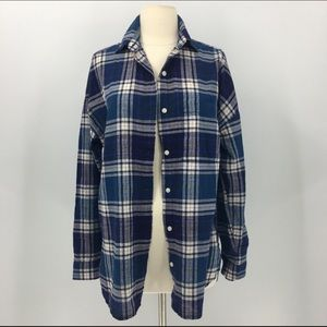 Women's Blue Plaid Boyfriend Shirt Button Down